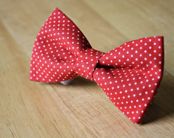 Red and White Polka Dots Bow Tie Dog Bow Tie Cat