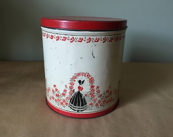 1940s Red Roses Black and White Tin Canister Kitchen Storage Tin Kitchenalia
