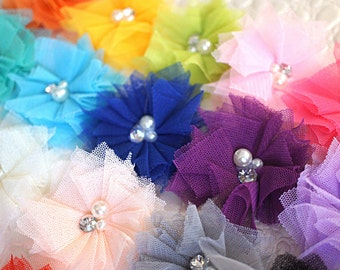 """YOU PICK COLORS - 2"""" Tulle Pearl and Rhinestone Flower - Pearl & Rhinestone Flower - Tulle Flower - Embellished Flower- Shabby Flower"""