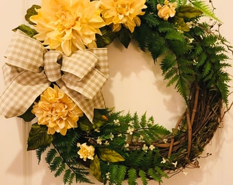 Wreath - Grapevine Yellow Floral