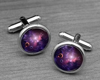 Galaxy Cufflinks, Wedding Groom Cufflinks, Fathers Cufflinks, Space Cufflinks, Nebula Cufflinks, Galaxy Tie Tacks,astrophile Best Gifts