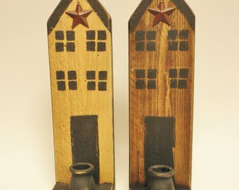 Saltbox House Candle Holder - Made To Order, Primitive Candle Holders, Country Decor, Saltbox Houses, Wood Sconces