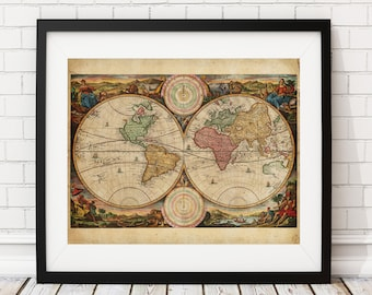 World Map Print, Vintage Map Art, Antique Map, Hemispheres, History Gift, Antique World Map Wall Art, Old Maps, Vintage World Map Poster