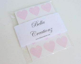 Pink Heart Stickers - Envelope Seals - Wedding Stickers - Valentines Stickers (48)