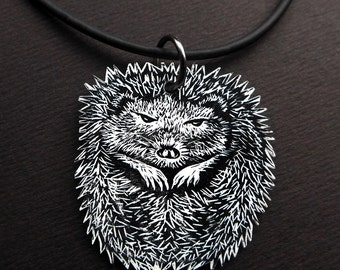 Hedgehog Necklace, hedgehog pendant, gift for a fellow hibernator, do not wake me until spring