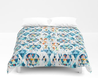 Geometric Duvet Cover Blue Orange Ikat Comforter Boho dorm bedding boys bedding twin xl king queen full duvet covers tribal print duvet mens
