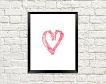 Pink Love Heart Watercolor Digital Print