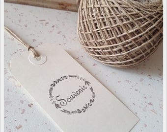Not mounted rubber stamp with writing * memory * 3.5 cm diameter