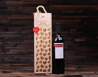 Personalized Wood Single Bottle Wine Box Valentine's Day Wine Gift for Him or Her (024402)