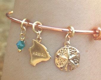 Hawaiian Jewelry, Hawaiian Bangle Bracelet, Beach Bangle Bracelet, Mother's Day Gift, Rose Gold Bangle, Personalized Bangle, natashaaloha