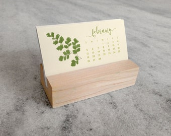 2018 Mini Desk Calendar with Wood Stand, Ferns, Monthly Calendar, stocking stuffer