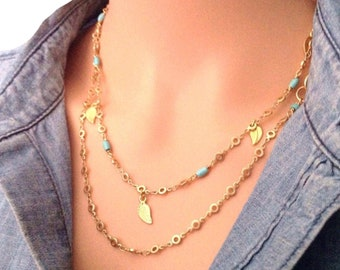 Long dainty necklace - Dainty long necklace - Long gold necklace - Dainty gold necklace - Long layering necklace - Layering gold necklace