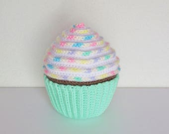 Large Personalized Amigurumi Crochet Rainbow Icing Cupcake / Stuffed Crochet Rainbow Cupcake / Plush Amigurumi Crochet Cupcake