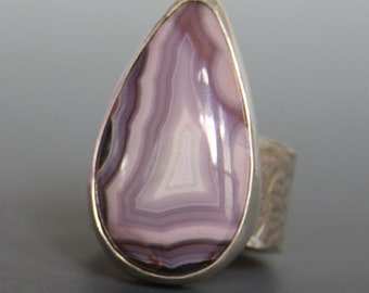 AAA Purple Passion Agate Ring, Purple Gemstone Ring, Purple Passion Teardrop Sterling Silver Wide band Ring