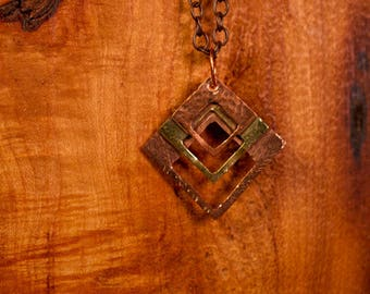 Copper and Brass Rustic Stacked Square Pendant