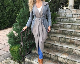 Two Sided Coat/Two Color Coat/Winter Cashmere Coat/Long Sleeve Trench Coat/Gray and Beige Coat/Handmade Cashmеre l Coat by AnClothing/A#0034