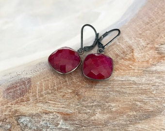 Ruby Earrings Silver, Ruby Drop Earrings, Ruby Dangle, Ruby Jewelry, July Birthstone, Bohemian Jewelry, Bohemian Earrings, Gift for Wife