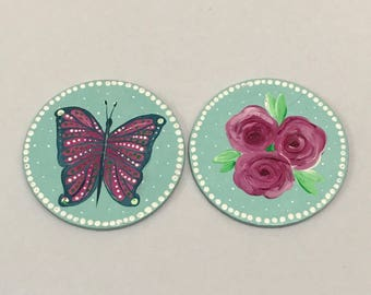 Set of 2 hand painted large floral/butterfly round magnets. Free UK delivery