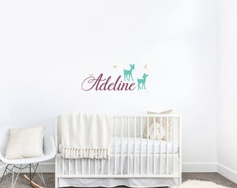 Fawn Name Wall Decal, Girls Wall Decals, Nursery Wall Decals, Deer Wall Stickers, Personalized Name Decals, Fawn Decal with Name, Baby Girl