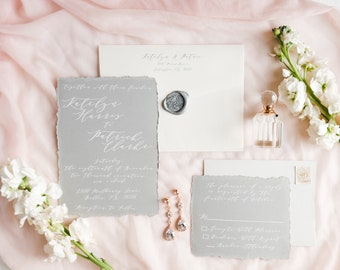 SAMPLE Deckled Edge White Modern Calligraphy Neutral Wedding Invitation in Grey and Ivory, Envelope Liner & Address Printing — Other Colors