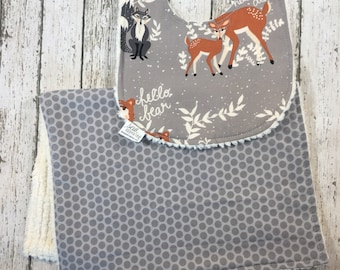 Woodland Bib Unique Baby Gift - Deer Raccoon Fox - Soft Baby Bibs and Burp Cloth - Personalized Baby Bib - Burp Clothes - Neutral Baby Gift