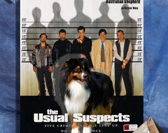 Australian Shepherd Art, Poster, Canvas Print, Aussie Postcards, Aussie Vinyl Sticker, Dog Portrait - The Usual Suspects Movie Poster