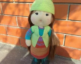 The doll is made of handmade crocheted yarn