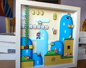 Super Mario World 001 Pixel Art Diorama Shadow Box
