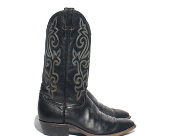 9 EE   Men's Justin Cowboy Boots Black Western Boots