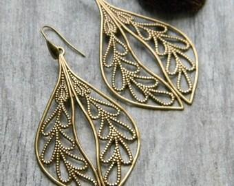 Bohemian earrings big earrings brass filigree teardrop earrings leaves leaf earring gift for her gypsy jewelry hippie earrings free spirit