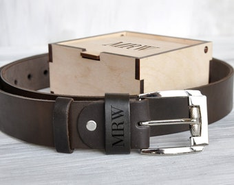 Custom Leather Belt, Gift for Dad, Personalized Gift for Men, Men's Belt, Custom Name Initials, Personalized Belt, Engraved Belt, Gift Box