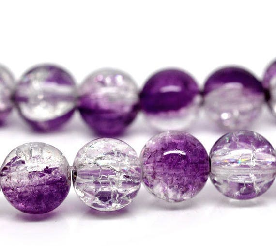 Set of 10 cracked purple glass beads & clear - 10 mm