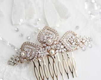 Rose Gold Bridal Hair Comb Rose Gold Wedding Headpiece Crystal Hair Comb Rose Gold Wedding Hair Clip Art Deco Bridal Hair Accessories EVIE L