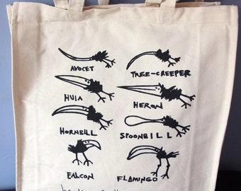 "Bird canvas tote bag - ""Beaks of the World"" cotton, shopping bag, birds, nature, wildlife, bag, black and white, lino cut, printmaking,"
