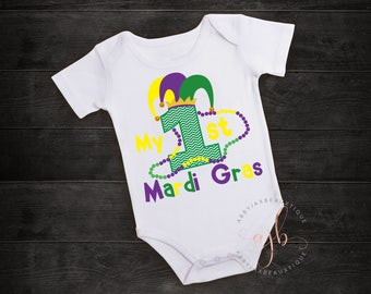 Mardi Gras Outfit - My First Mardi Gras Shirt - My First Mardi Gras - Mardi Gras - Girl Mardi Gras Outfit - Boy Mardi Gras Outfit - Mardi