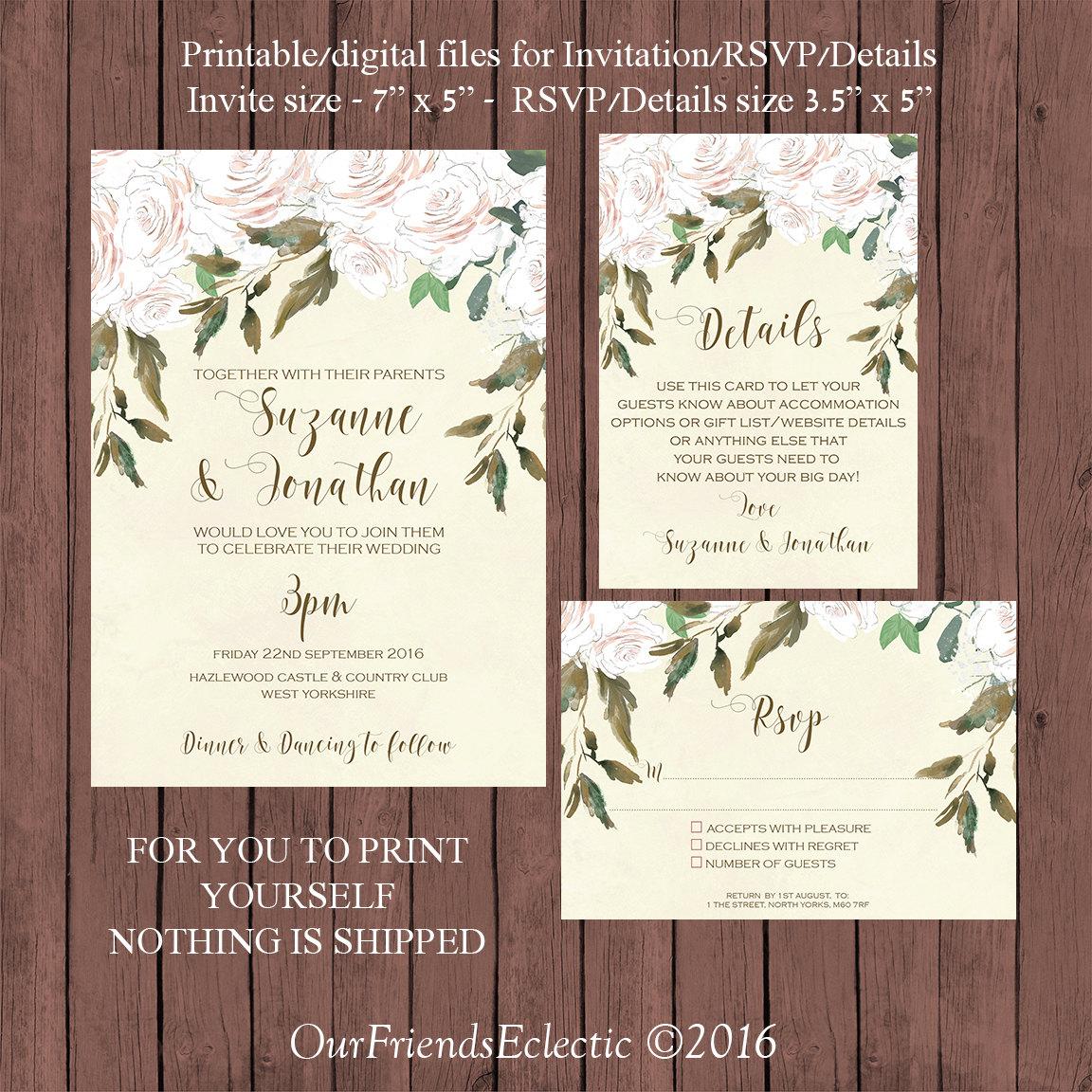 white floral wedding invitation Printable wedding invitation