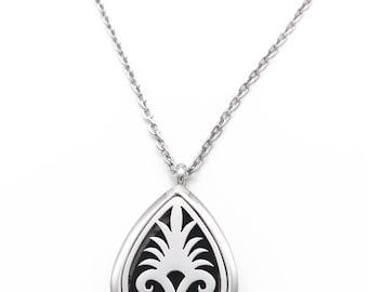 Fleur De Lis Teardrop Aromatherapy Essential Oil Diffuser Pendant Necklace 316L Stainless Steel