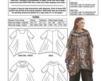 Grecian Tunic, PDF sewing pattern