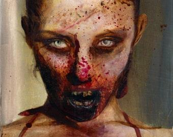 "Zombie 61 Liza B. original zombie painting 6""x6"""