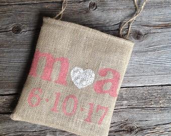 Dollar Dance Bag, Coral Wedding, Personalized Bag, Money Dance Bag, Burlap and Lace, Personalized Wedding, Bridal Dance, Bridal Shower Gift