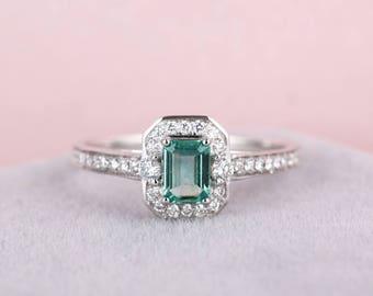 Emerald engagement ring Diamond vintage engagement ring women wedding halo Diamond Half eternity Bridal Jewelry Anniversary Christmas gift