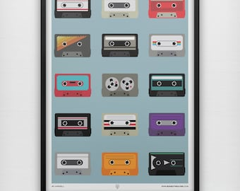 Mix Tapes Art Print Cassette Tape Mixtape Prints Player DJ Retro Minimalist Music Geek VHS Musical Instrument Graphic Poster Home