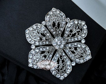 Rhinestone Brooch Pin - Flatback Embellishment - Flatback Broach - Brooch Bouquet - Supply - Flower - Wedding Jewelry Supply - RD234