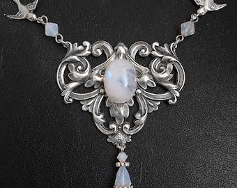 silver Moonstone Necklace Gothic Jewelry gothic clothing White Opal Swarovski Gemstone Necklace Gothic Necklace victorian Jewelry