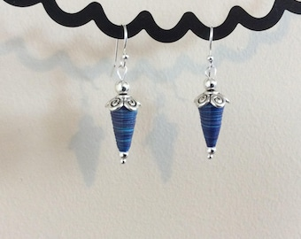 Blue Paper Bead Earrings with Silver Beads and Earwires, Handmade Paper Beads, Quilled Beads, Drop Earrings, Birthday Gift, Gift for Mom