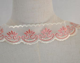 """2 yards Lace Trim Ivory Tulle Embroidery Floral Headband Fabric Wedding Trim 1.77"""" width"""