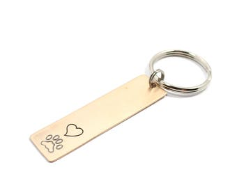 Dog Love Key Chain Bronze or Sterling Silver, Gift for Him, Gift for Her, Personalized, Love Your Dog, Dog Walker Gift, Petsitter, Paw Print
