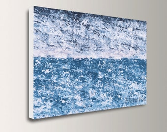 blue Acrylic Abstract painting art large canvas 60x40 acrylic wall home office interior bedroom decor Textured impasto palette knife Visi