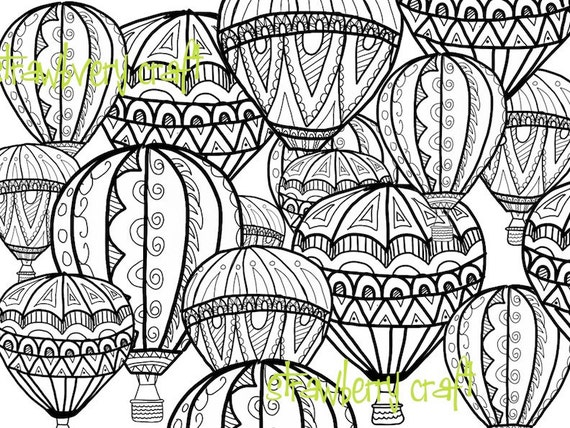 Hot Air Balloon coloring page Coloring page intricate