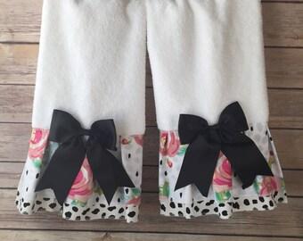 Pink Floral Towels, Black Dots, hand towels, bath towels, black and white, pink bath towels, pink floral, bathroom decor, bath, black spots